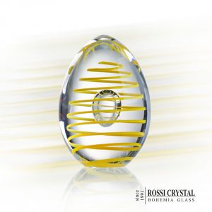 Glass paperweight Egg yellow spiral