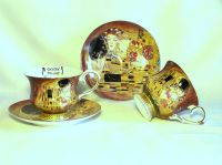 Porcelain cup with saucer G. Klimt - set of 2pcs