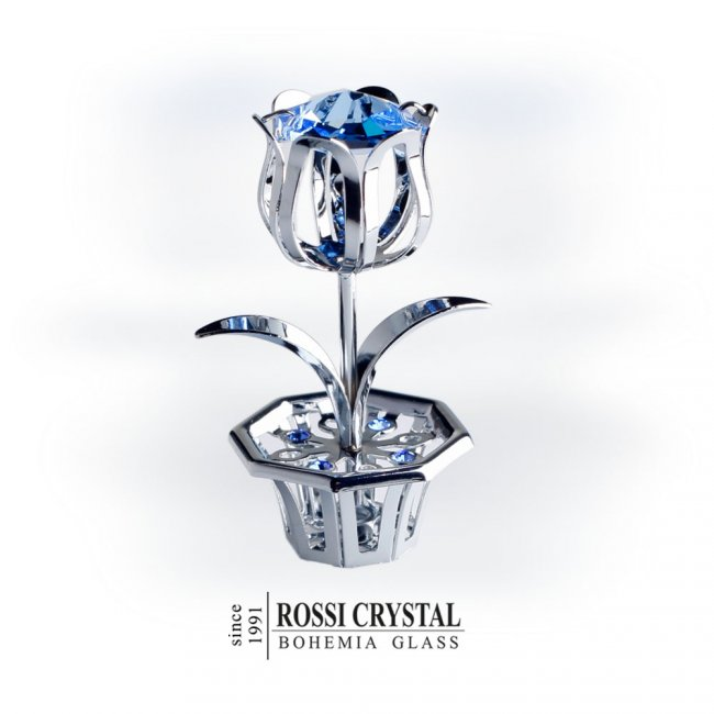 Silver tulip decoration with swarovski crystal rossi for Swarovski decoration crystals