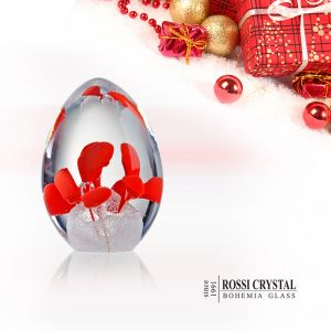 Glass paperweight Egg red - flower