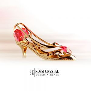 Golden High heel shoe, decoration with Swarovski crystal