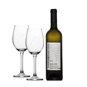 Wine gift set white wine glasses - 70 years anniversary