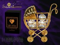 Golden pushchair decoration with Swarovski crystals