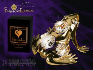 Golden frog decoration with Swarovski crystals