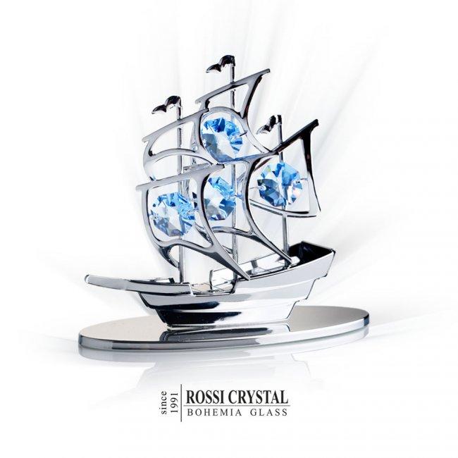 Silver ship decoration with swarovski crystal rossi for Swarovski decoration crystals
