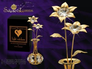 Golden vase with flower with Swarovski crystals