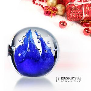 Glass paperweight blue