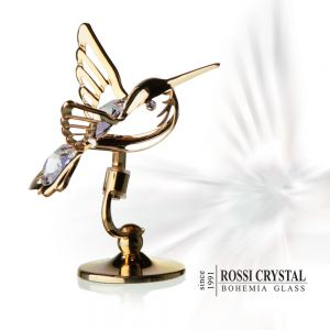 Golden hummmingbird white, decoration with Swarovski crystal