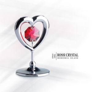 Silver Heart, decoration with Swarovski crystal