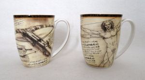 Porcelain mugs set of 2 pcs Leonardo da Vinci