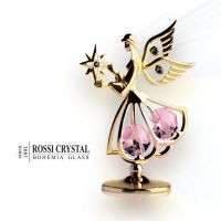 Golden Angel with Star, decoration with Swarovski crystal