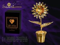 Golden sunflower decoration with Swarovski crystal