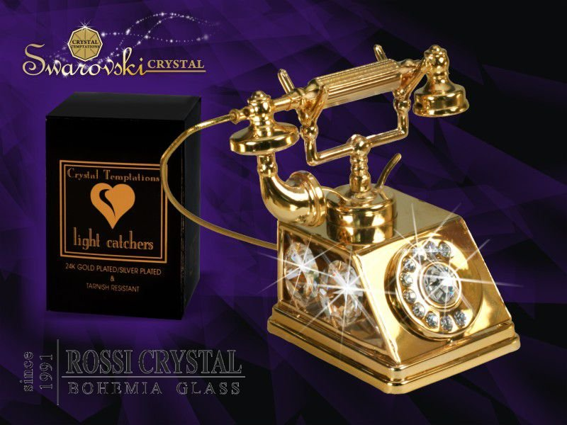 Golden Telephone Decoration With Swarovski Crystals Rossi Crystal