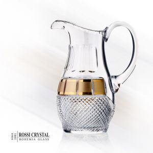 Hand cut crystal glass pitcher gilded with gold
