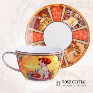 Porcelain tea cup and saucer - Four Seasons