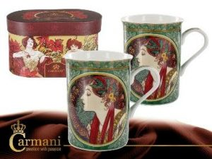 Porcelain mugs set of 2pcs A. Mucha - Laurel